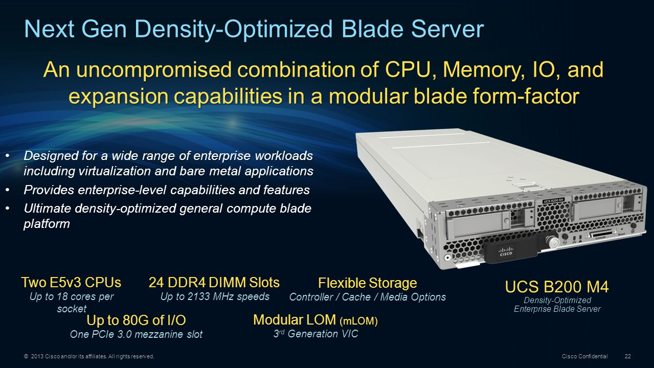 © 2013 Cisco and/or its affiliates. All rights reserved. Cisco Confidential 22 UCS B200 M4 Density-Optimized Enterprise Blade Server Two E5v3 CPUs Up