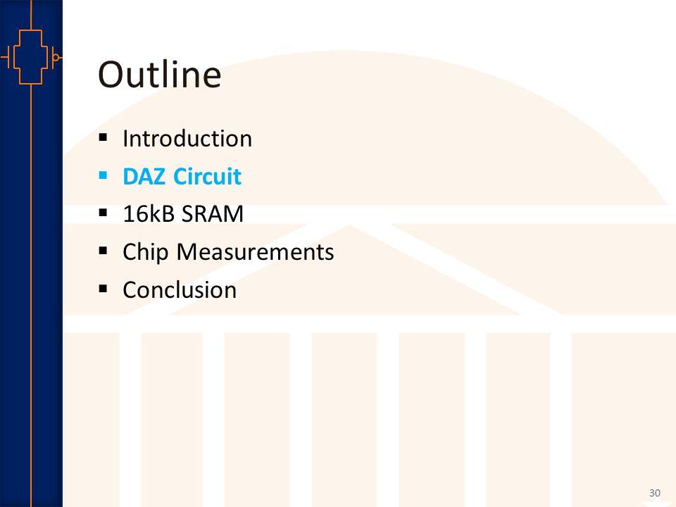 Robust Low Power VLSI Outline  Introduction  DAZ Circuit  16kB SRAM  Chip Measurements  Conclusion 30