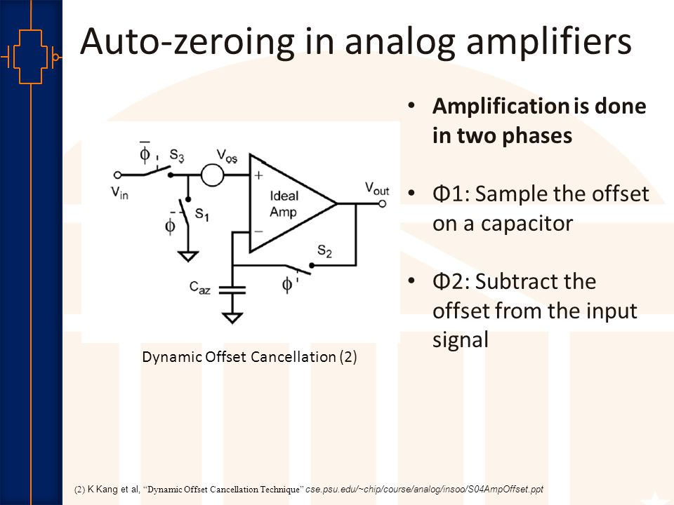 Robust Low Power VLSI Auto-zeroing in analog amplifiers Amplification is done in two phases Φ1: Sample the offset on a capacitor Φ2: Subtract the offset from the input signal (2) K Kang et al, Dynamic Offset Cancellation Technique cse.psu.edu/~chip/course/analog/insoo/S04AmpOffset.ppt Dynamic Offset Cancellation (2)