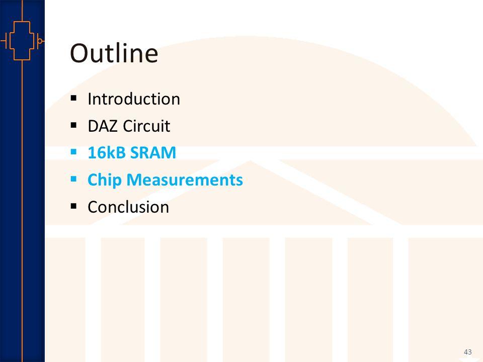 Robust Low Power VLSI Outline  Introduction  DAZ Circuit  16kB SRAM  Chip Measurements  Conclusion 43