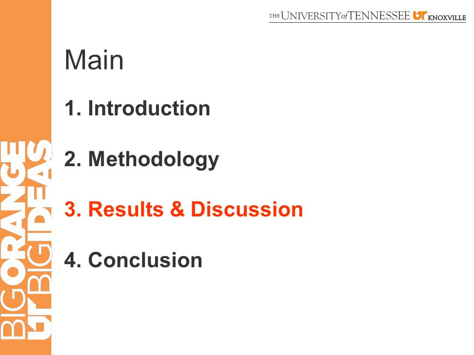 Main 1.Introduction 2.Methodology 3.Results & Discussion 4.Conclusion