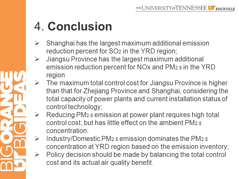 4. Conclusion  Shanghai has the largest maximum additional emission reduction percent for SO 2 in the YRD region;  Jiangsu Province has the largest