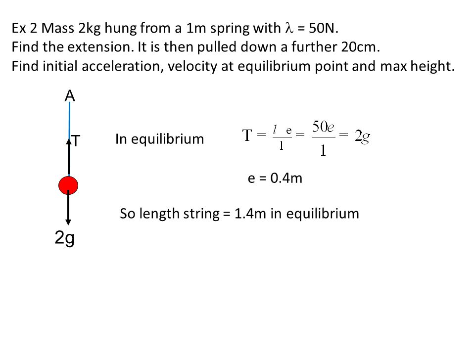 Ex 2 Mass 2kg hung from a 1m spring with = 50N. Find the extension. It is then pulled down a further 20cm. Find initial acceleration, velocity at equi