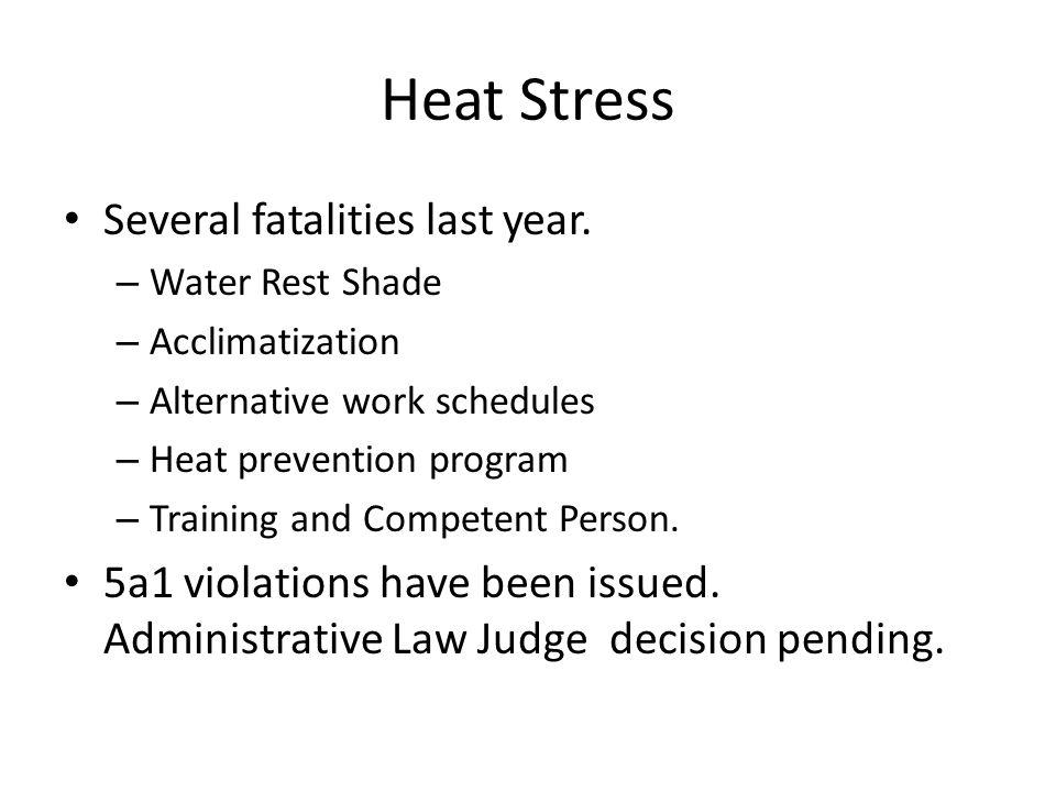 Heat Stress Several fatalities last year. – Water Rest Shade – Acclimatization – Alternative work schedules – Heat prevention program – Training and C