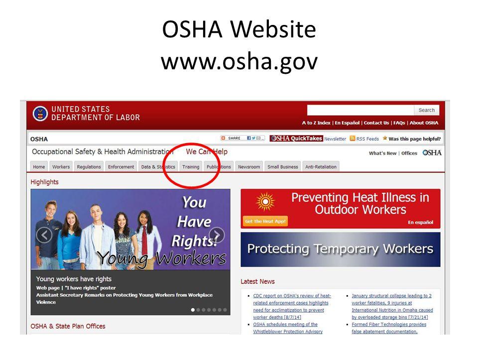 OSHA Website www.osha.gov