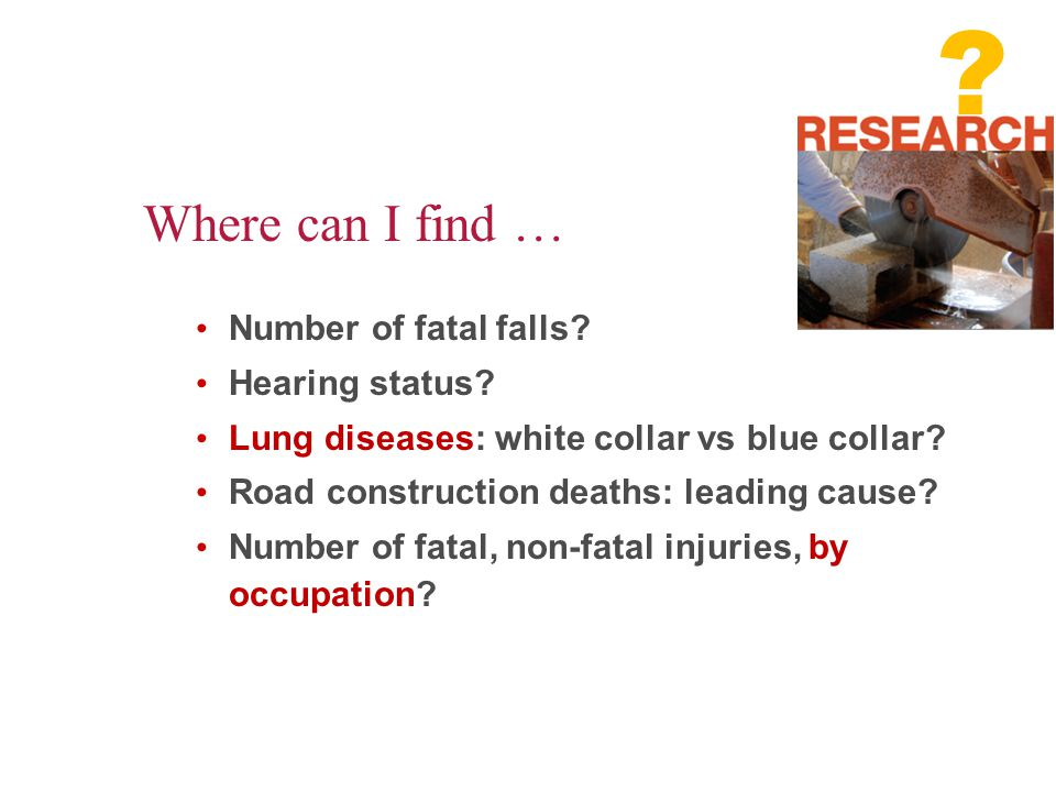 Number of fatal falls.Hearing status. Lung diseases: white collar vs blue collar.
