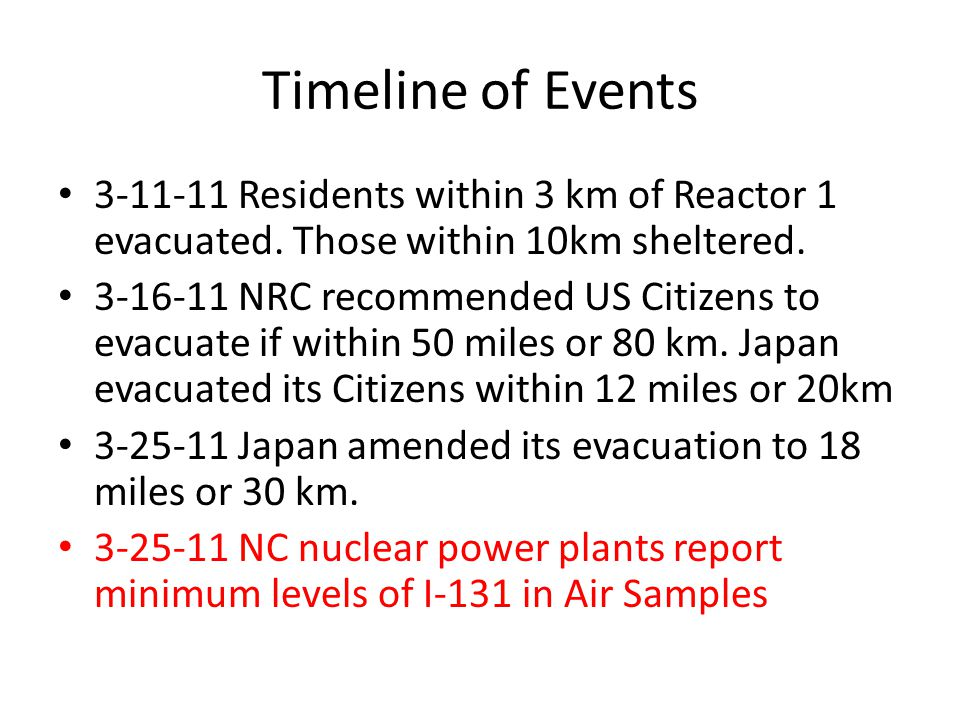Timeline of Events 3-11-11 Residents within 3 km of Reactor 1 evacuated.