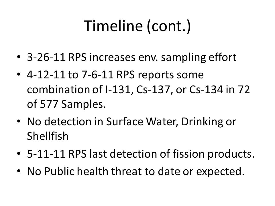 Timeline (cont.) 3-26-11 RPS increases env.