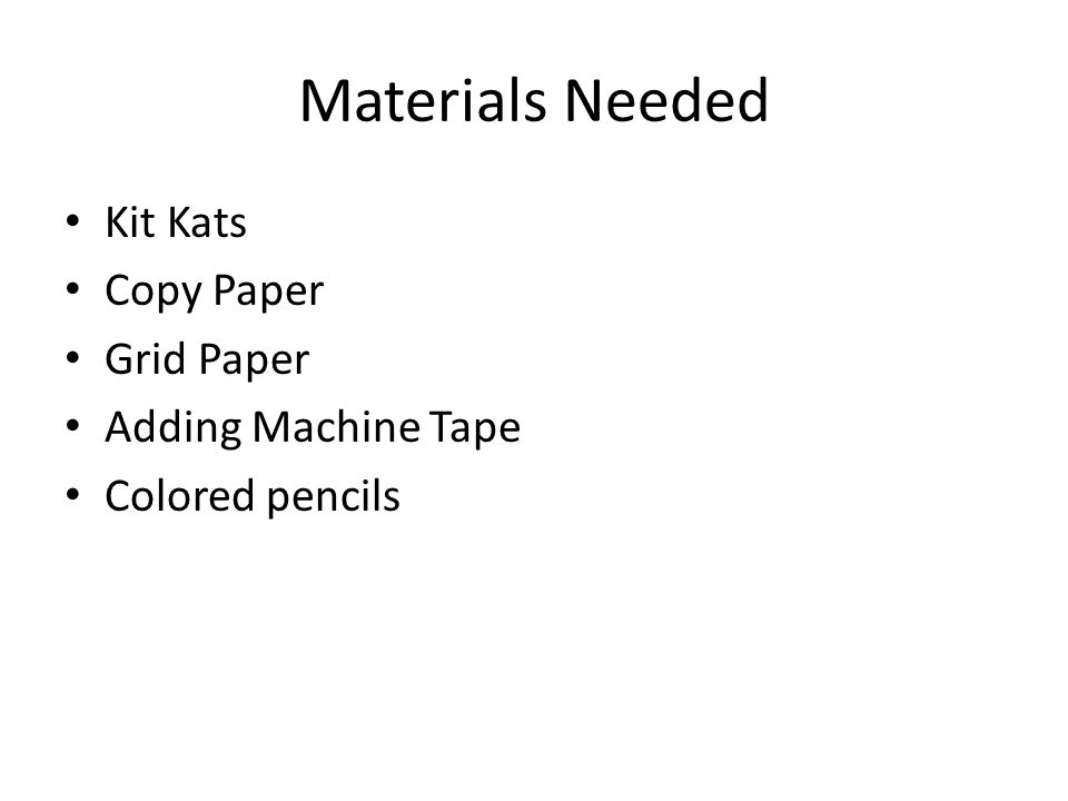Materials Needed Kit Kats Copy Paper Grid Paper Adding Machine Tape Colored pencils