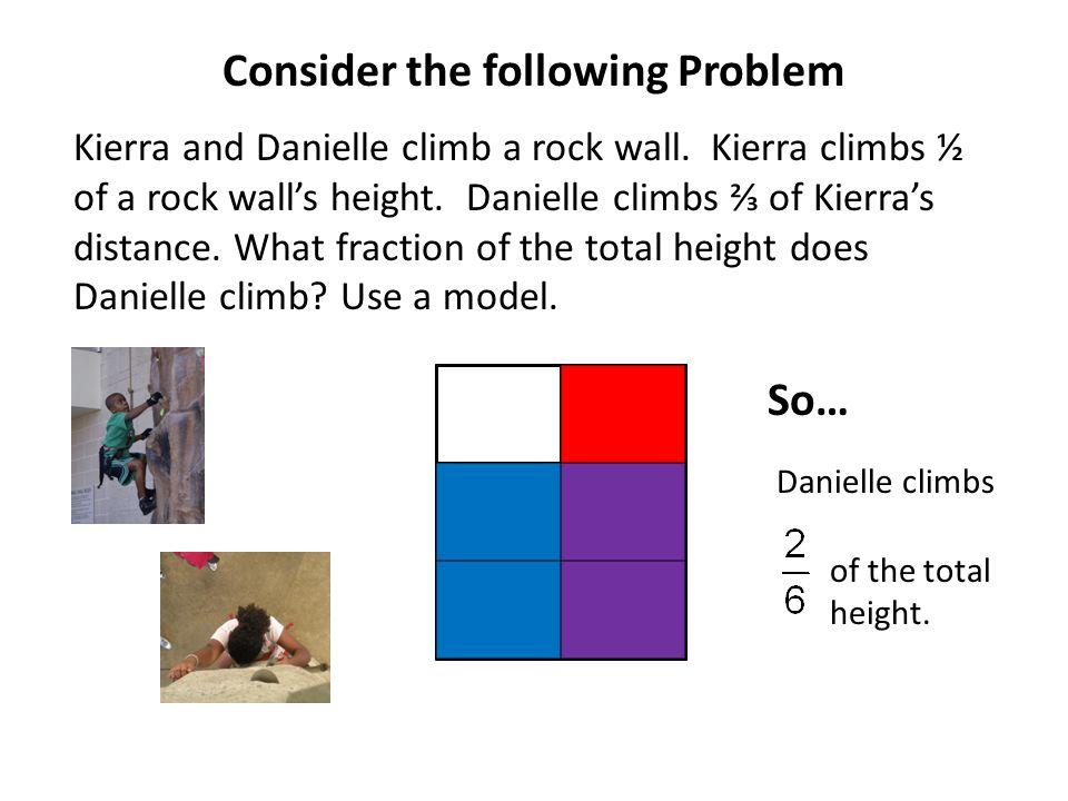 Kierra and Danielle climb a rock wall. Kierra climbs ½ of a rock wall's height.