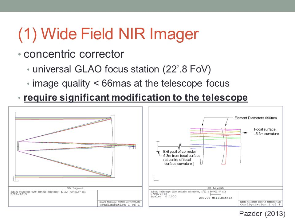 (1) Wide Field NIR Imager concentric corrector universal GLAO focus station (22'.8 FoV) image quality < 66mas at the telescope focus require significant modification to the telescope Pazder (2013)
