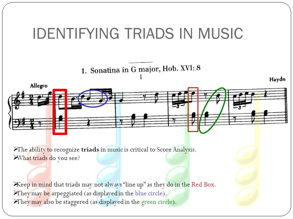 IDENTIFYING TRIADS IN MUSIC  The ability to recognize triads in music is critical to Score Analysis.