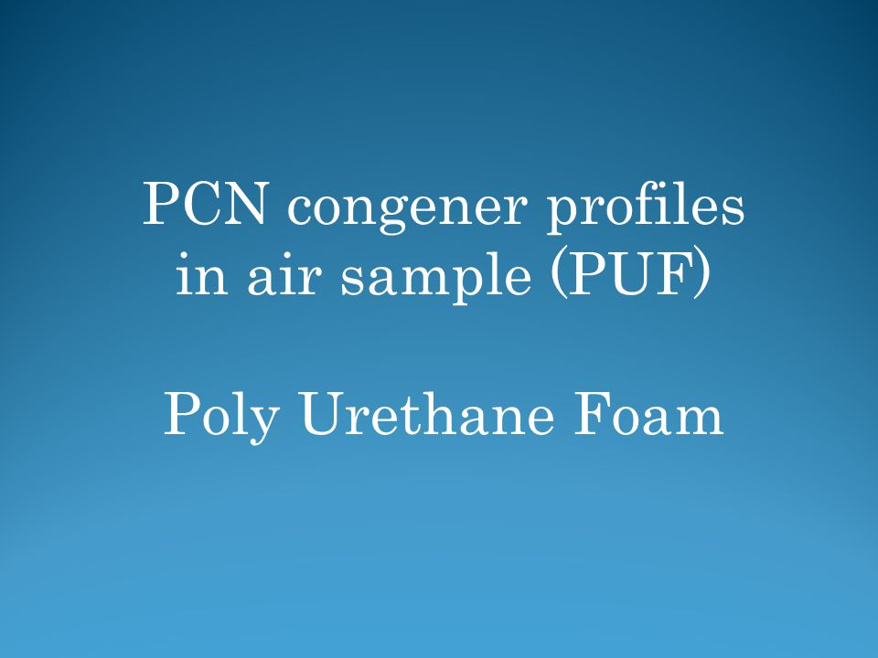 PCN congener profiles in air sample (PUF) Poly Urethane Foam