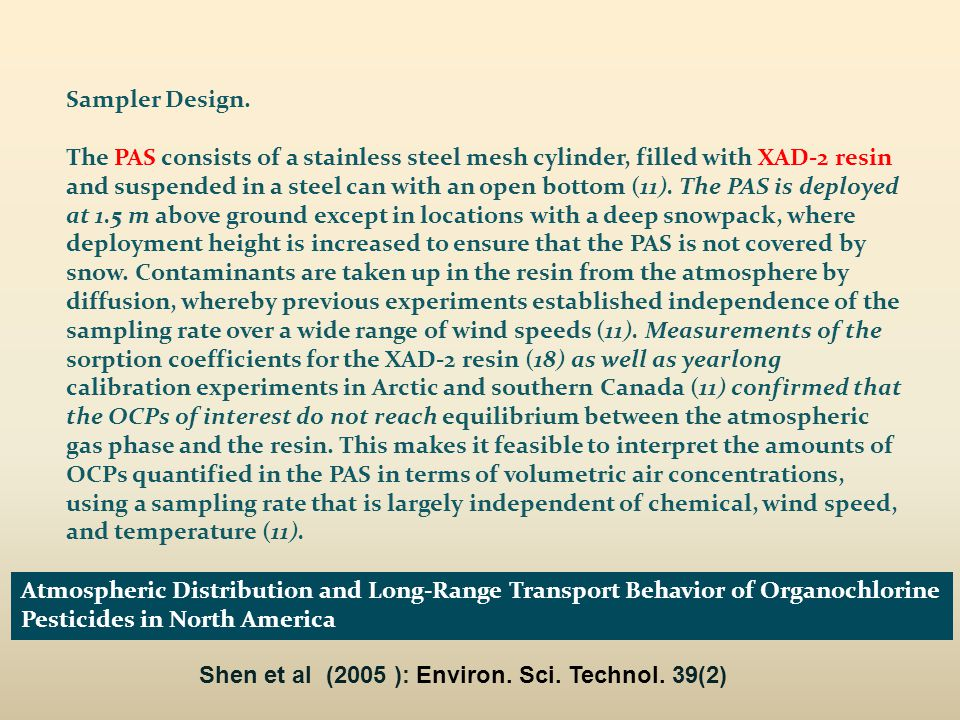 Atmospheric Distribution and Long-Range Transport Behavior of Organochlorine Pesticides in North America Shen et al (2005 ): Environ.