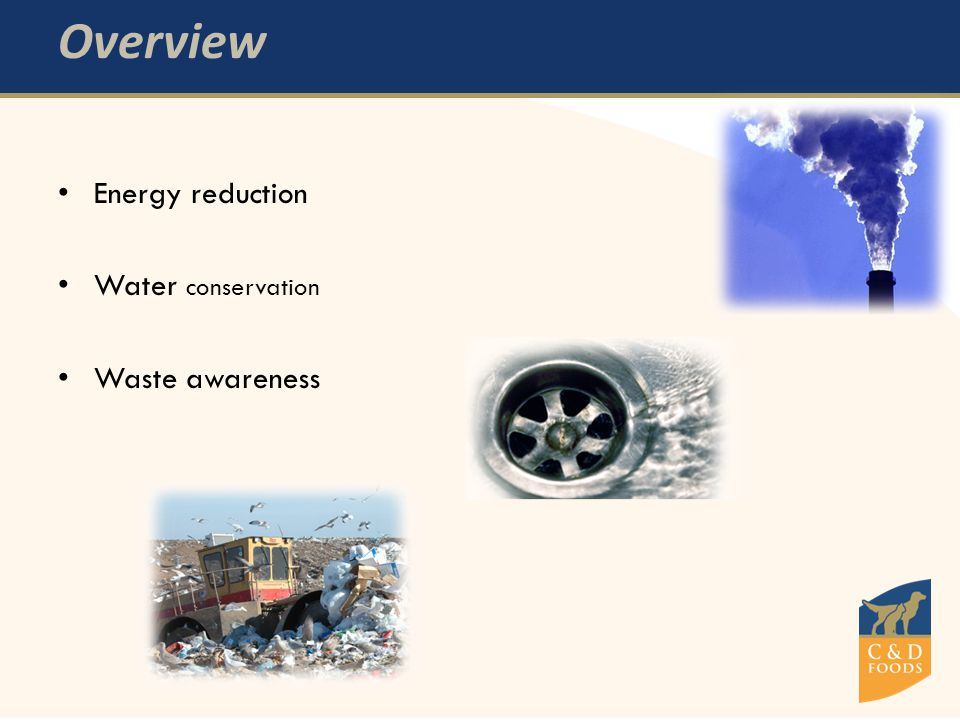 Overview Energy reduction Water conservation Waste awareness