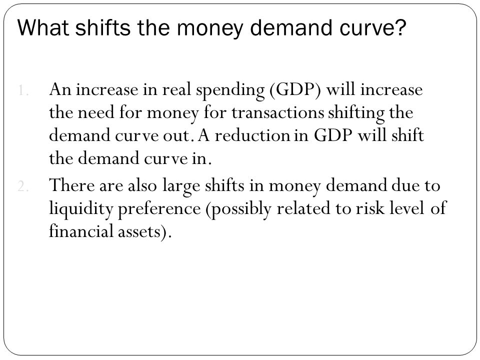 What shifts the money demand curve? 1. An increase in real spending (GDP) will increase the need for money for transactions shifting the demand curve