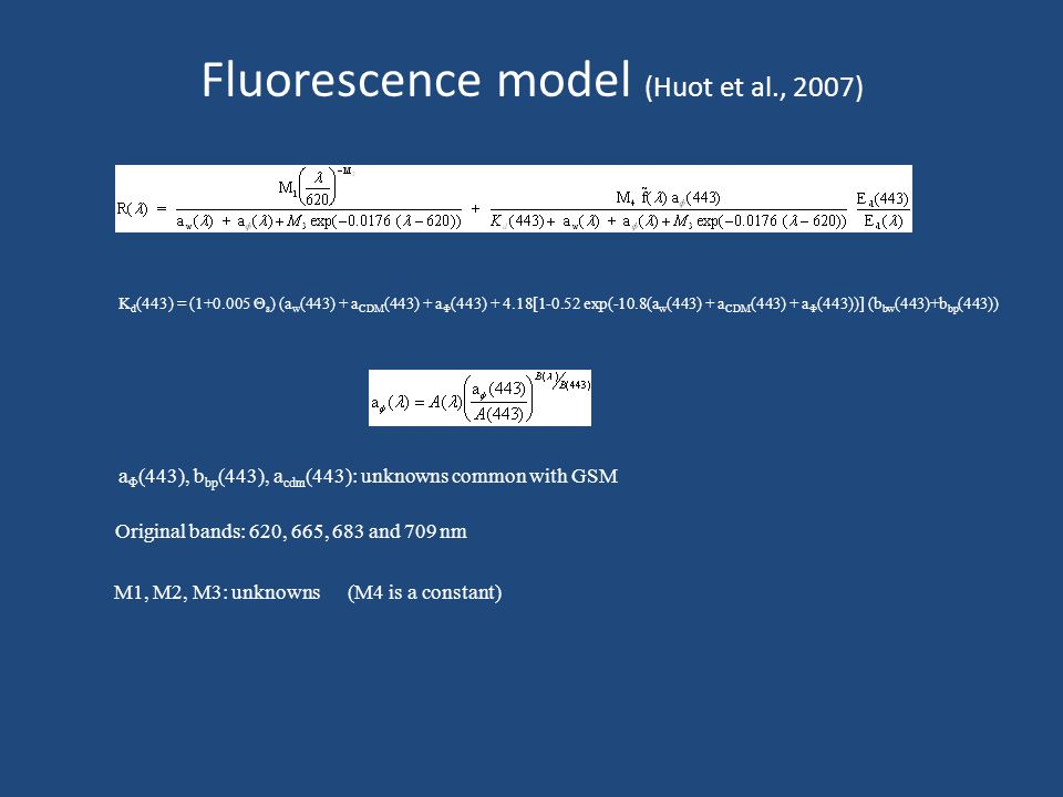 Fluorescence model (Huot et al., 2007) K d (443) = (1+0.005 Θ s ) (a w (443) + a CDM (443) + a Φ (443) + 4.18[1-0.52 exp(-10.8(a w (443) + a CDM (443) + a Φ (443))] (b bw (443)+b bp (443)) a Φ (443), b bp (443), a cdm (443): unknowns common with GSM Original bands: 620, 665, 683 and 709 nm M1, M2, M3: unknowns (M4 is a constant)