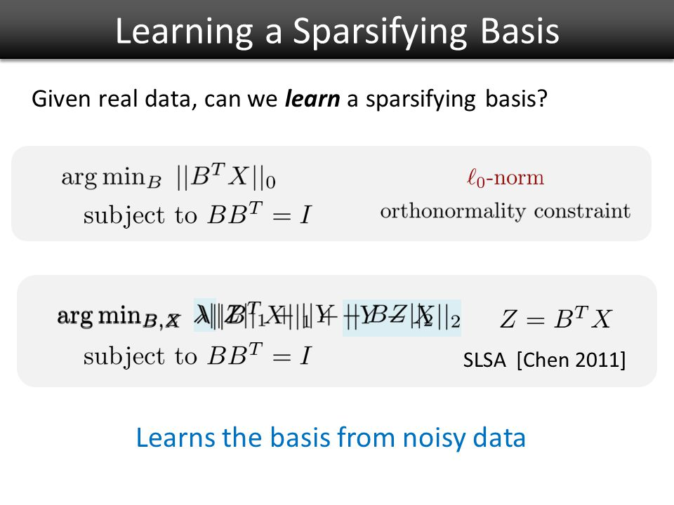 Learning a Sparsifying Basis Given real data, can we learn a sparsifying basis.