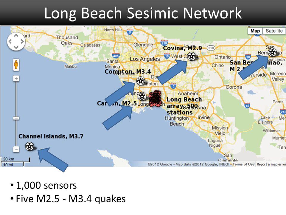 Long Beach Sesimic Network 1,000 sensors Five M2.5 - M3.4 quakes