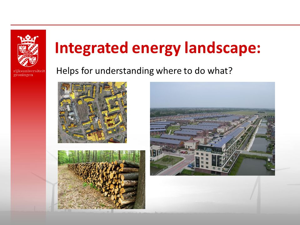 Helps for understanding where to do what? Integrated energy landscape: