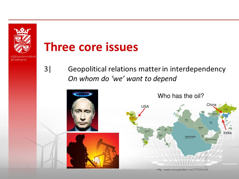 Three core issues 3| Geopolitical relations matter in interdependency On whom do 'we' want to depend