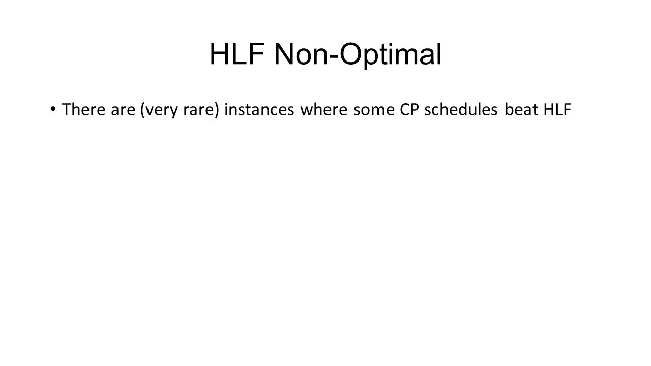HLF Non-Optimal There are (very rare) instances where some CP schedules beat HLF