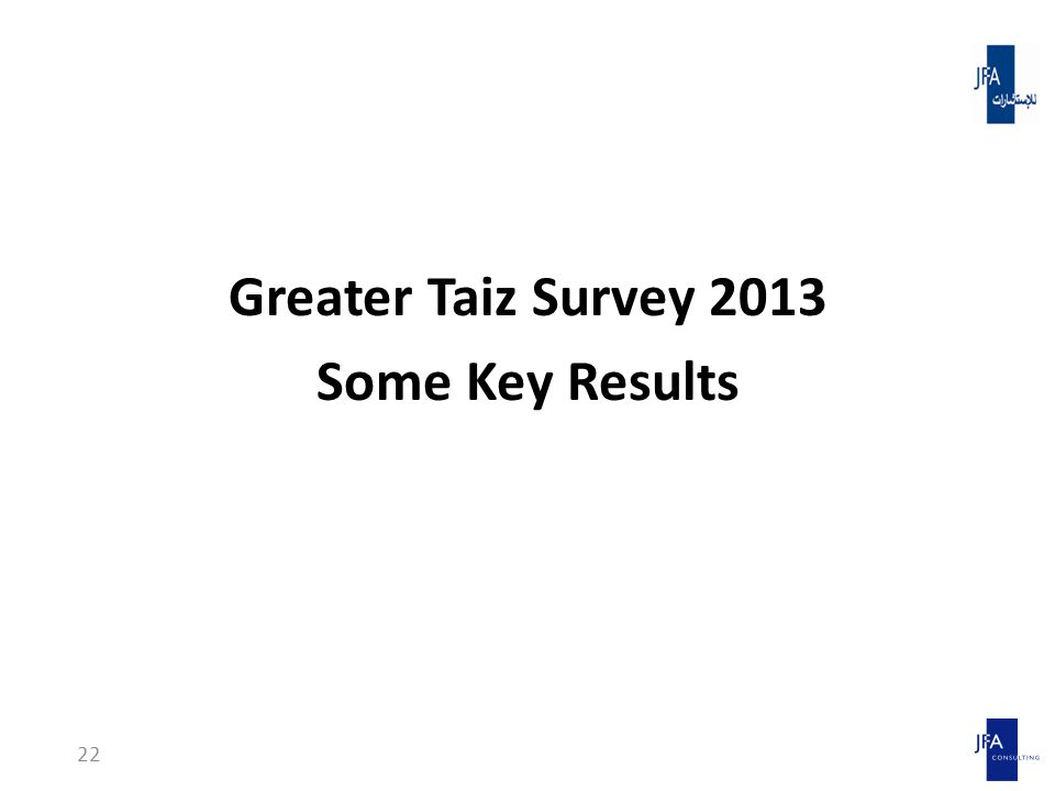 Greater Taiz Survey 2013 Some Key Results 22