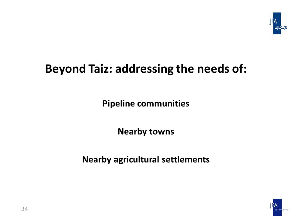 Beyond Taiz: addressing the needs of: Pipeline communities Nearby towns Nearby agricultural settlements 34