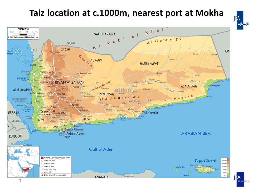 Taiz location at c.1000m, nearest port at Mokha 4