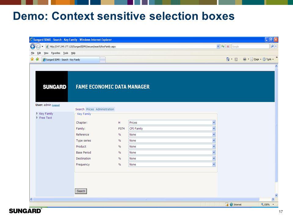 17 Demo: Context sensitive selection boxes