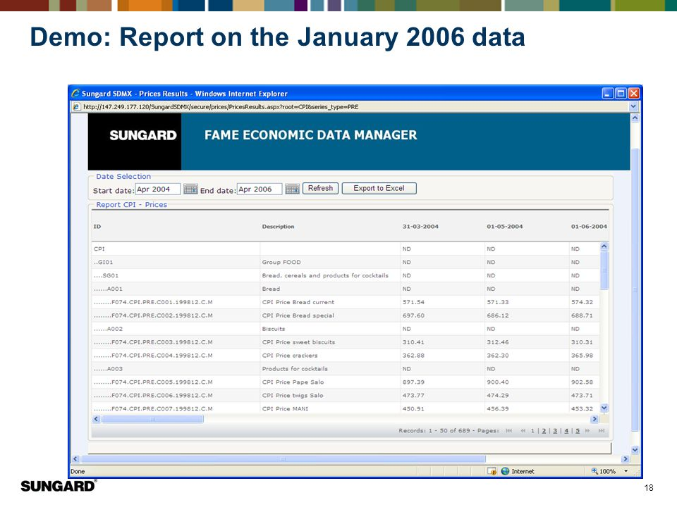 18 Demo: Report on the January 2006 data