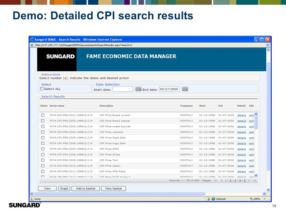 19 Demo: Detailed CPI search results