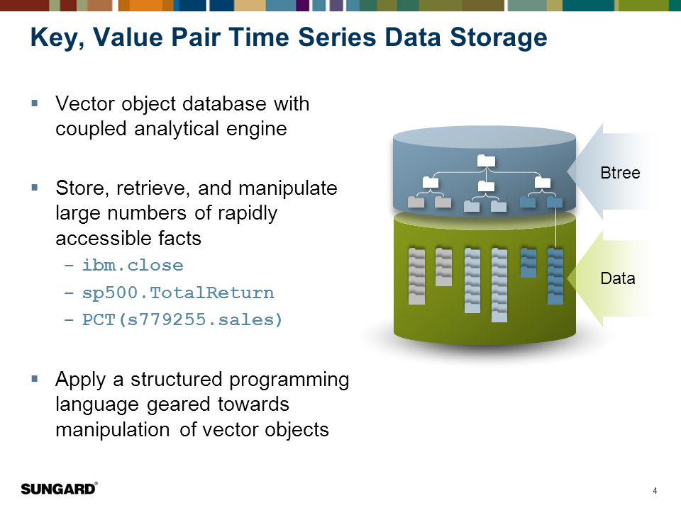 4 Key, Value Pair Time Series Data Storage  Vector object database with coupled analytical engine  Store, retrieve, and manipulate large numbers of rapidly accessible facts ‒ ibm.close ‒ sp500.TotalReturn ‒ PCT(s779255.sales)  Apply a structured programming language geared towards manipulation of vector objects Btree Data
