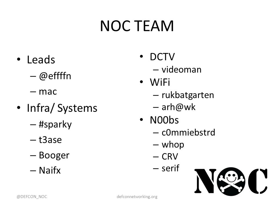 NOC TEAM Leads – @effffn – mac Infra/ Systems – #sparky – t3ase – Booger – Naifx DCTV – videoman WiFi – rukbatgarten – arh@wk N00bs – c0mmiebstrd – whop – CRV – serif @DEFCON_NOCdefconnetworking.org