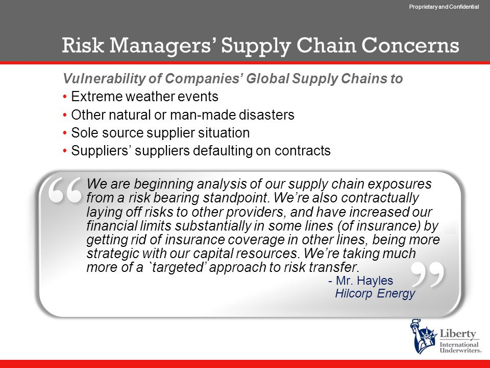 Proprietary and Confidential Risk Managers' Supply Chain Concerns Vulnerability of Companies' Global Supply Chains to Extreme weather events Other natural or man-made disasters Sole source supplier situation Suppliers' suppliers defaulting on contracts We are beginning analysis of our supply chain exposures from a risk bearing standpoint.