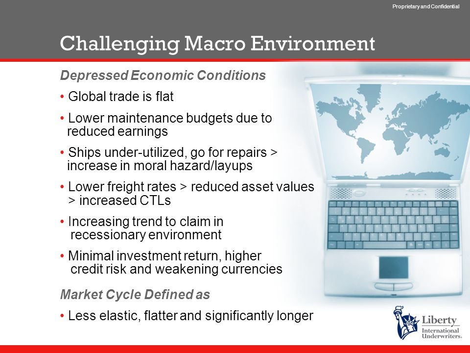 Proprietary and Confidential Challenging Macro Environment Depressed Economic Conditions Global trade is flat Lower maintenance budgets due to reduced earnings Ships under-utilized, go for repairs > increase in moral hazard/layups Lower freight rates > reduced asset values > increased CTLs Increasing trend to claim in recessionary environment Minimal investment return, higher credit risk and weakening currencies Market Cycle Defined as Less elastic, flatter and significantly longer