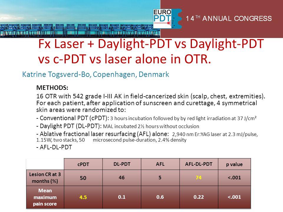 Fx Laser + Daylight-PDT vs Daylight-PDT vs c-PDT vs laser alone in OTR. Katrine Togsverd-Bo, Copenhagen, Denmark METHODS: 16 OTR with 542 grade I-III