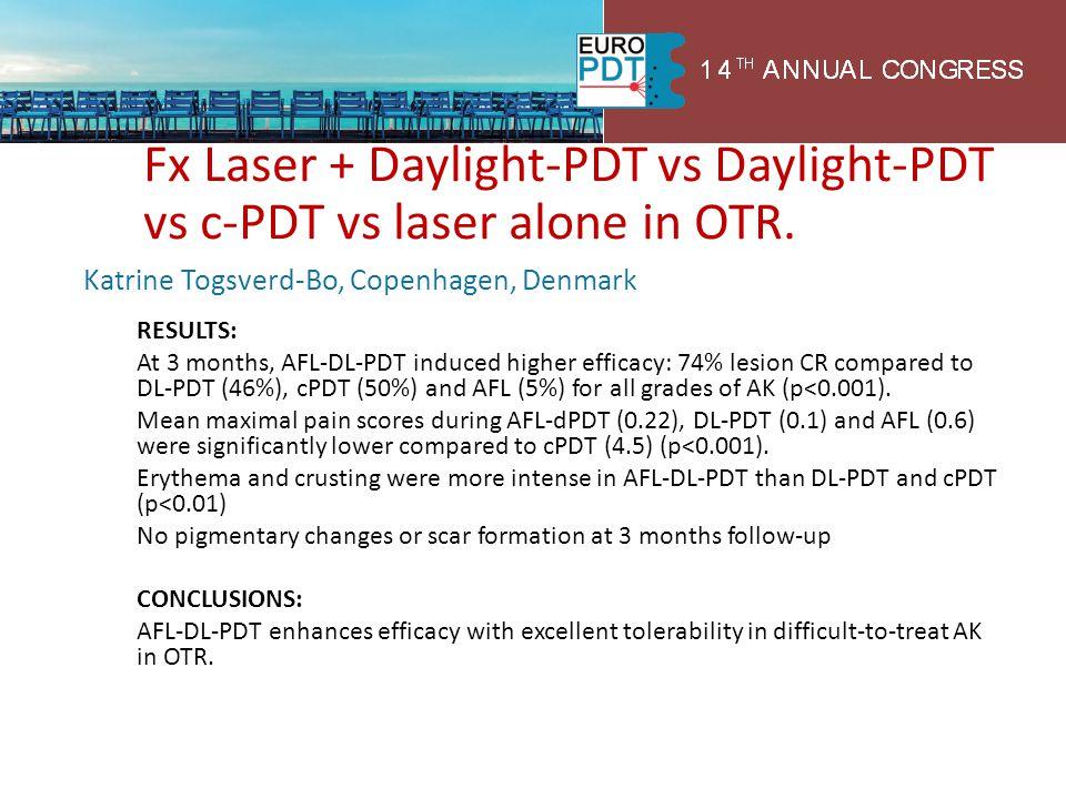 Fx Laser + Daylight-PDT vs Daylight-PDT vs c-PDT vs laser alone in OTR. Katrine Togsverd-Bo, Copenhagen, Denmark RESULTS: At 3 months, AFL-DL-PDT indu