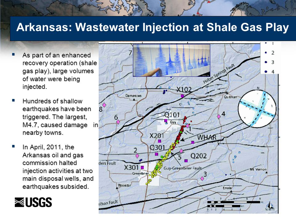 Arkansas: Wastewater Injection at Shale Gas Play  As part of an enhanced recovery operation (shale gas play), large volumes of water were being injec