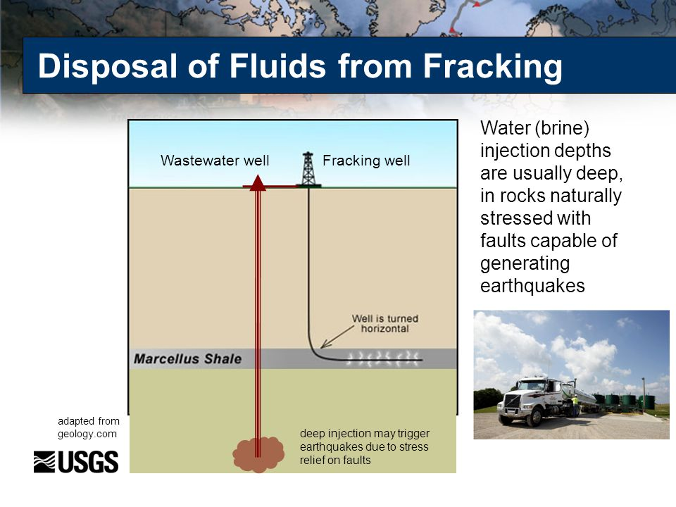 Disposal of Fluids from Fracking Water (brine) injection depths are usually deep, in rocks naturally stressed with faults capable of generating earthq