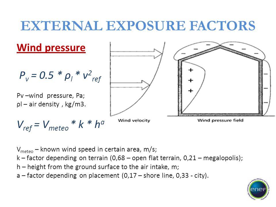 EXTERNAL EXPOSURE FACTORS Wind pressure P v = 0.5 * ρ l * v 2 ref Pv –wind pressure, Pa; ρl – air density, kg/m3. V ref = V meteo * k * h a V meteo –