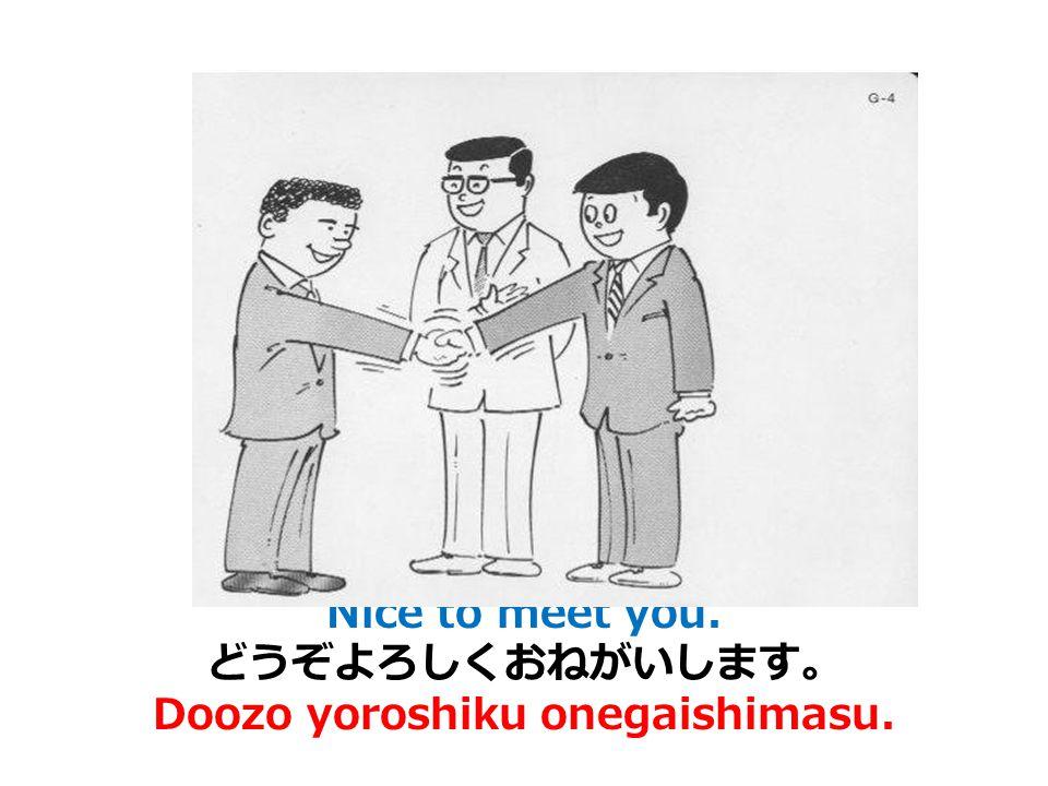 I'm sorry. / Excuse me. (どうも)すみません。 (Doomo) sumimasen.