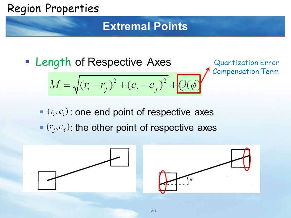 Extremal Points  Length of Respective Axes  : one end point of respective axes  : the other point of respective axes 26 Region Properties Quantizat