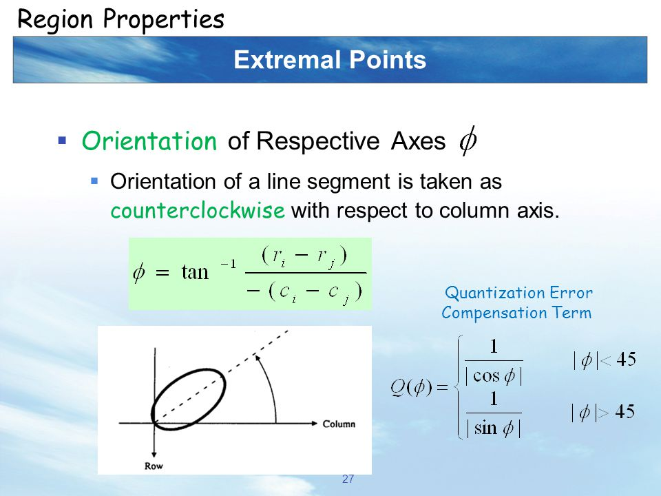 Extremal Points  Orientation of Respective Axes  Orientation of a line segment is taken as counterclockwise with respect to column axis. 27 Region P