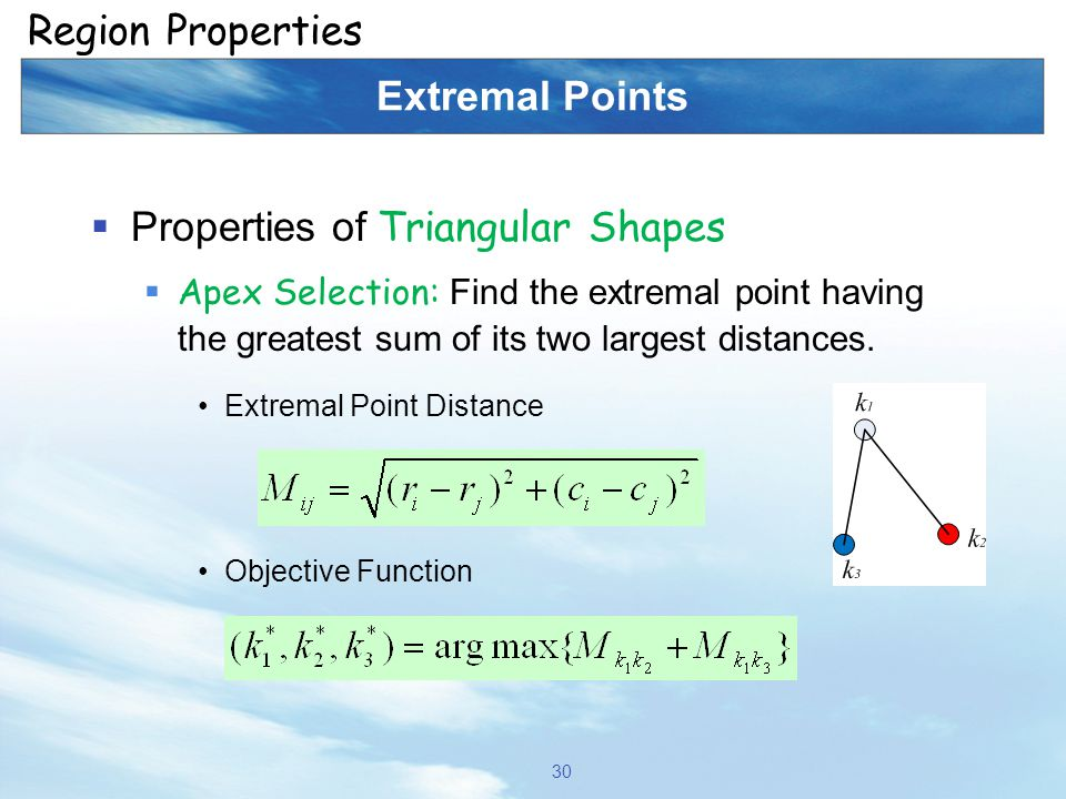 Extremal Points  Properties of Triangular Shapes  Apex Selection: Find the extremal point having the greatest sum of its two largest distances. Extr