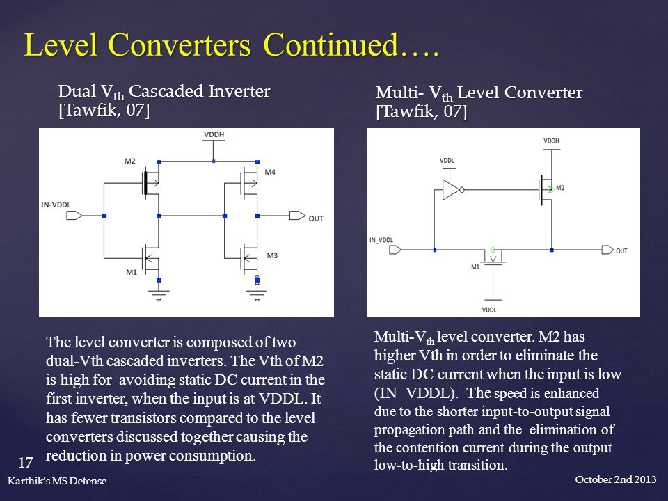 October 2nd 2013 17 Karthik's MS Defense Level Converters Continued….