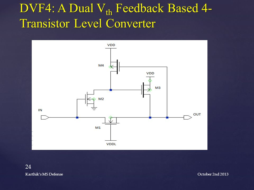 DVF4: A Dual V th Feedback Based 4- Transistor Level Converter October 2nd 2013 24 Karthik's MS Defense