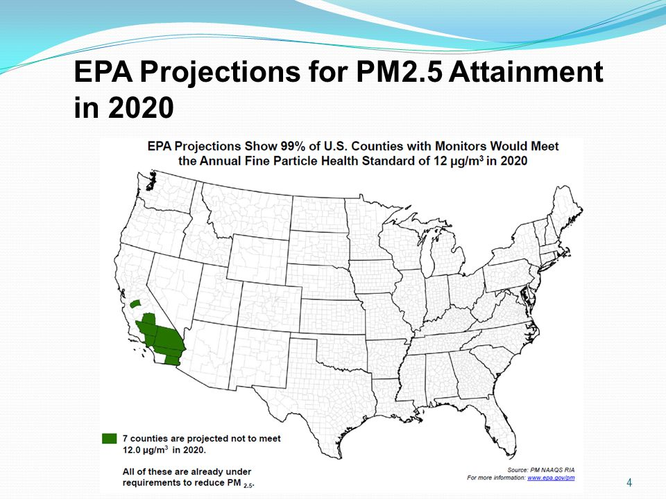 EPA Projections for PM2.5 Attainment in 2020 4