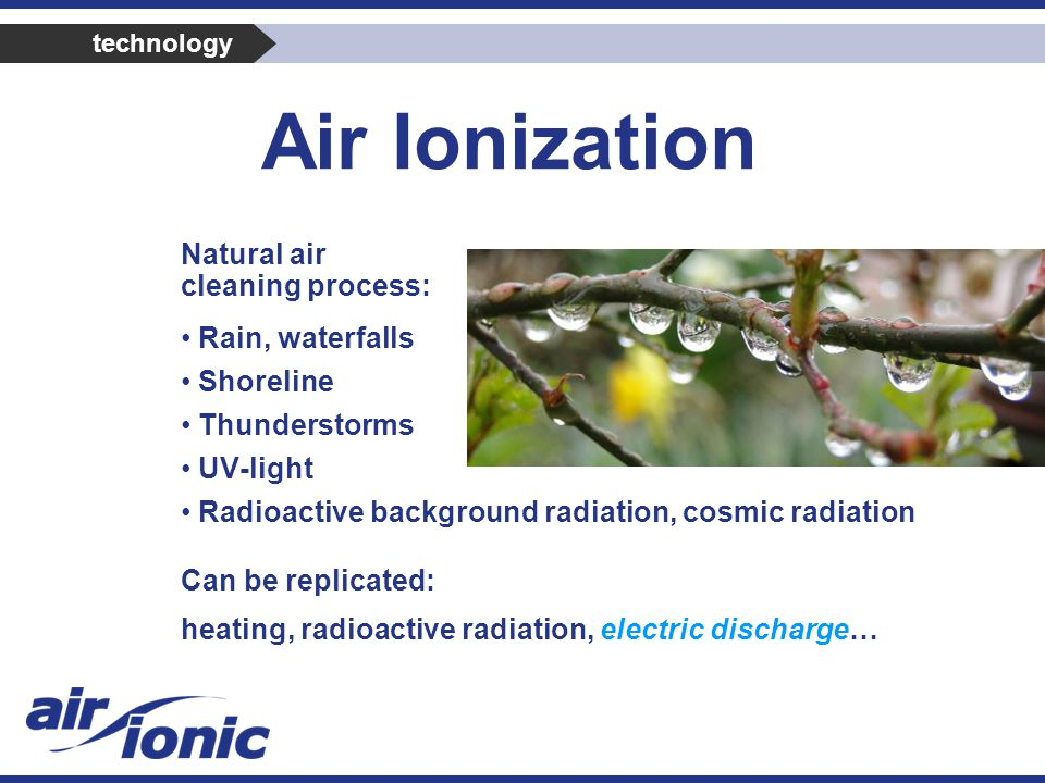 Natural air cleaning process: Rain, waterfalls Shoreline Thunderstorms UV-light Radioactive background radiation, cosmic radiation Can be replicated: heating, radioactive radiation, electric discharge… Air Ionization technology