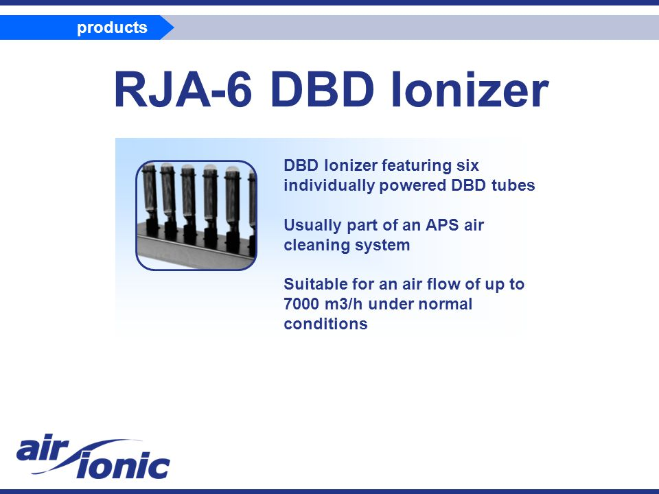 RJA-6 DBD Ionizer DBD Ionizer featuring six individually powered DBD tubes Usually part of an APS air cleaning system Suitable for an air flow of up to 7000 m3/h under normal conditions products